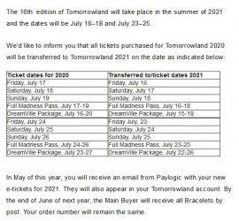 Tomorrowland 2021 dates